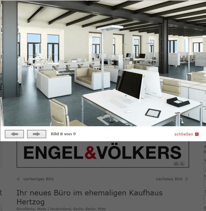 Eine Simulation künftiger Büros im historischen Juwel Kaufhaus Hertzog in der Brüderstraße 26 in Berlin Mitte vom neuen Berliner Eigentümer ID&A Immobilien GmbH
