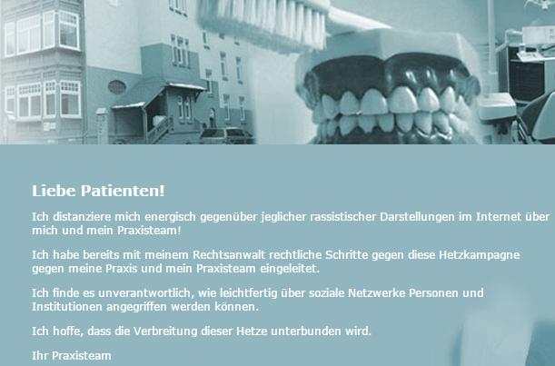 Die Zahnärztin steht zu ihrer Information an die Hausbewohner und ihren Maßnahmen nach der Asylanten-Zahnnotbehandlung im Haus Gorkistraße 15 in Erfurt und kündigt rechtliche Schritte gegen jeden an, der sie oder ihr Team als rassistisch verunglimpft. (Ausriss website Zahnarztpraxis-Trobisch.de)