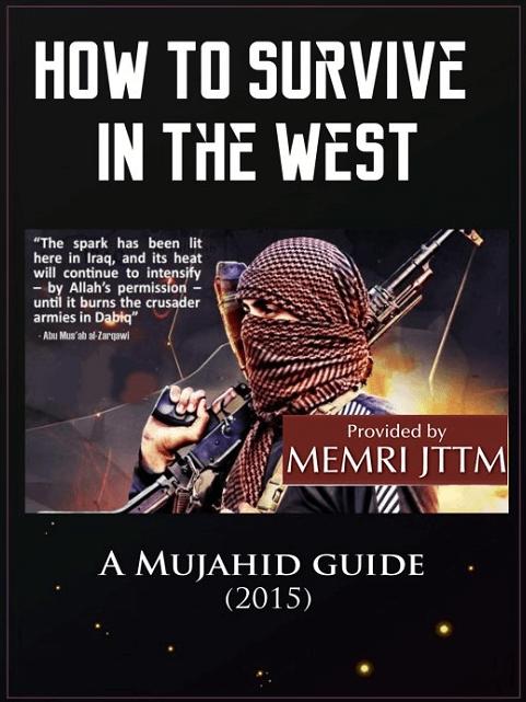 """Ein Handbuch beschreibt, wie man als Mujahid in Westeuropa überlebt. Es beginnt mit dem Satz: """"Im Herzen Europas beginnt ein Krieg."""" (Foto: http://homment.com/survivewest)"""