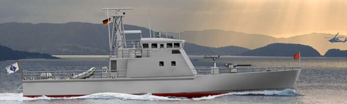 Ein Modell des Patrouillenbootes TNC 35, was auf der Wolgaster Peene-Werft der Bremer Lürssen-Gruppe gebaut wird. Das doppelmotorige Dieselschiff leistet 7.800 KW/h (10.601 PS), ist 35 Meter lang und erreicht eine Geschwindigkeit von 40 Knoten (rund 74 Km/h). (Foto: Lürssen)