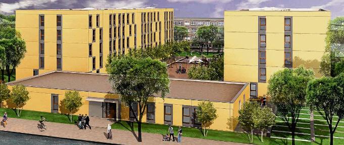 So eine Modular-Siedlung soll an 60 Standorten in Berlin entstehen, so in der Cyclopstraße 13 in Wittenau. Je Anlage können bis zu 450 Flüchtlinge untergebracht werden, insgesamt also 27.000. Miete und Verpflegung kosten im Durchschnitt 21 Euro. (Simulation: aim architektur immobilienmanagement aus der Regensburger Straße 25 in Berlin Wilmersdorf)