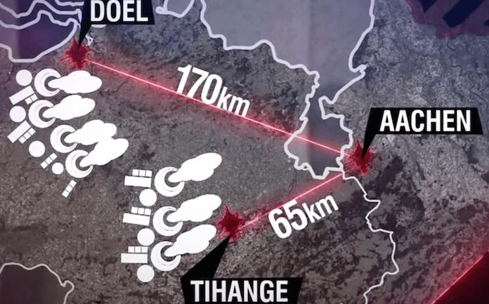 Bei einem Unfall in Tihange oder Doel ist die Nuklearwolke durch den ständigen Westwind in einer halben Stunde in Deutschland und verseucht ein Gebiet um Aachen mit 7 Millionen Deutschen (Foto: Youtube/Frontal 21)