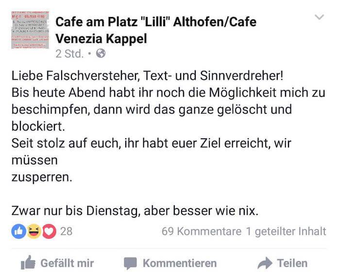 Wegen der kritischen Kommentare hat Peter Moser sein Cafe Lilli über Ostern gleich mal ganz geschlossen, wie er auf Facebook postete (Foto: Facebook)
