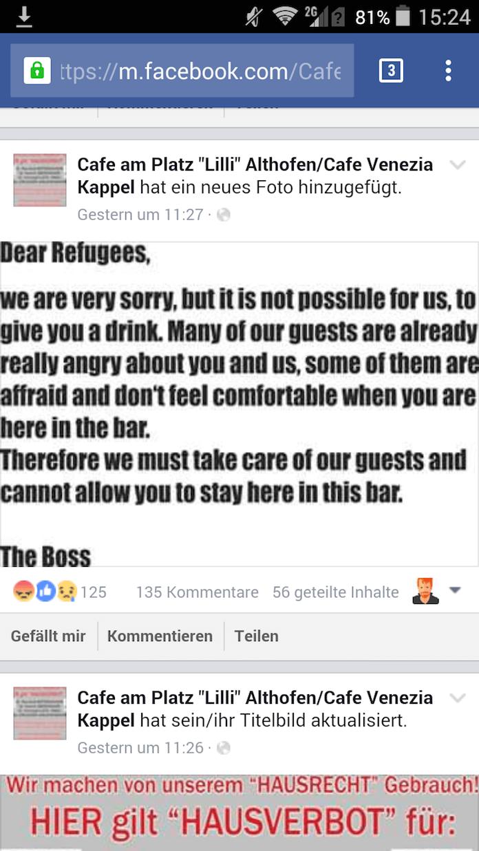Der Boss Peter Moser postete sein Hausverbot in Englisch auf seier Facebook-Seite (Foto: Facebook)