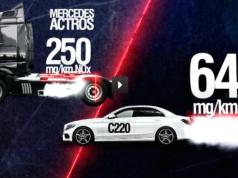 Der 40-Tonnen-Laster von Mercdes hält sich an die LKW-Norm von 250 Milligramm Stickoxide pro Kilometer. Die Mercedes Limousine C220 schleudert pro Kilometer 643 Milligramm giftige Stickstoffoxide in die Luft - achtmal soviel wie für PKWs erlaubt. (Foto: niederländisches Forschungsinstitut TNO)