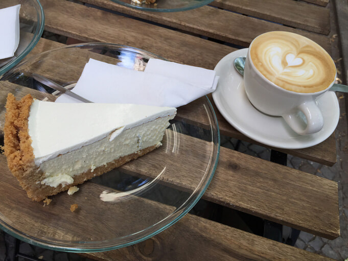 Five Elephant coffee and cheesecake. (Source).