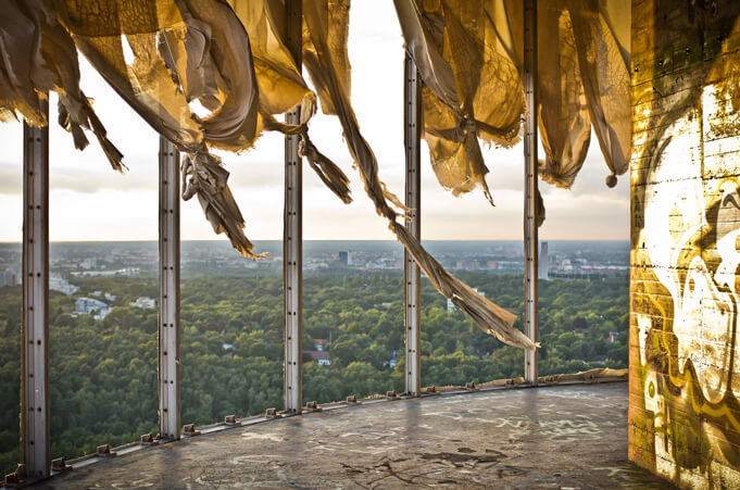 The height above the hill made Teufelsberg a good spot to spy. Source.