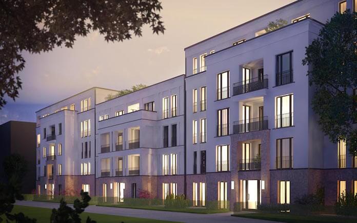 """Das geplante Mauerpark-Eigentumswohnungsquartier """"So Berlin"""" (Simulation: Groth Gruppe)"""