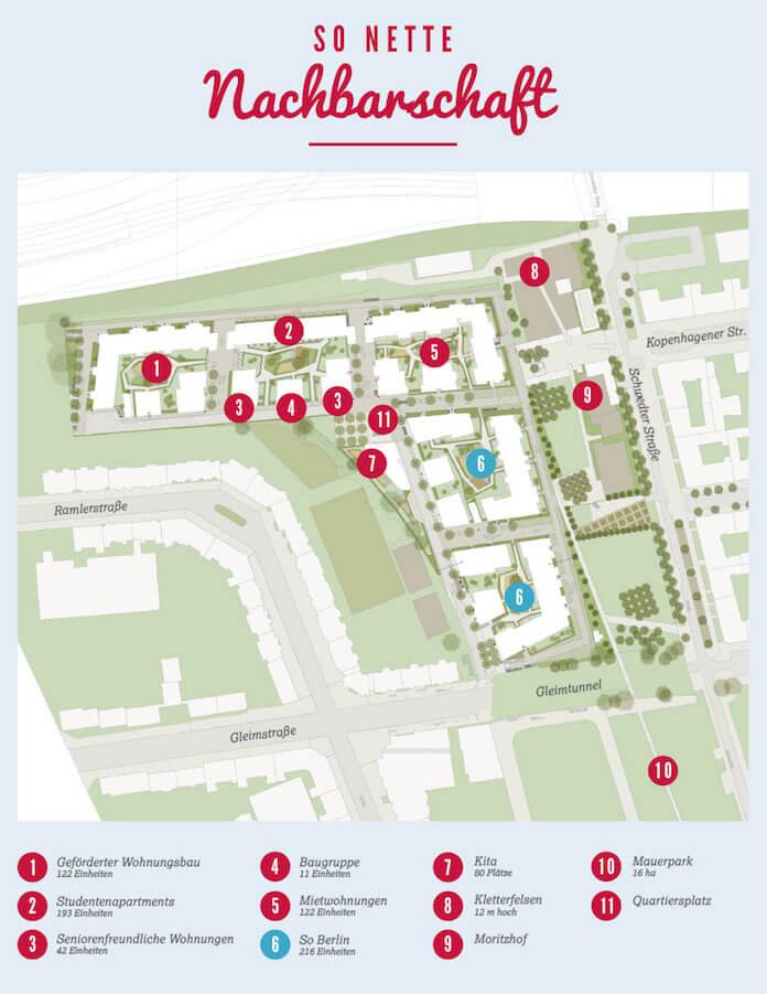 Der Projektplant für Berliner Wohnungsbaumischung von Eigentumswohnungen, Studentenapartments und Mietwohnungen im Mauerpark zwischen Prenzlauer Berg, rechts, und Wedding, links (Zeichnung: Groth Gruppe)