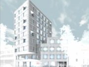 So soll der neue Hotelturm von Bauherr Felix Gädicke am Nollendorfplatz 2 in Berlin Schöneberg in zwei Jahren ausssehen. Die Bauarbeiten sollen nächste Woche beginnen. (Entwurf: Spereck Gesellschaft von Architekten GmbH, Westend)