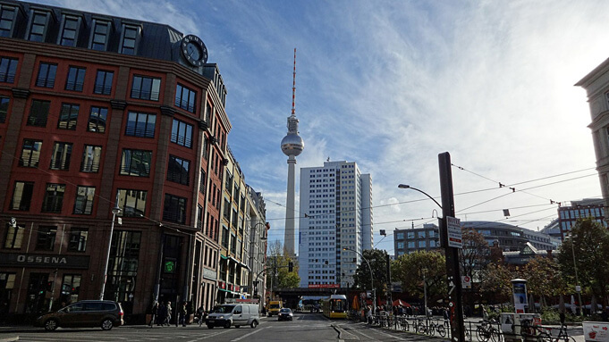 View of one of Berlin's most famous icons: the TV Tower in Mitte.