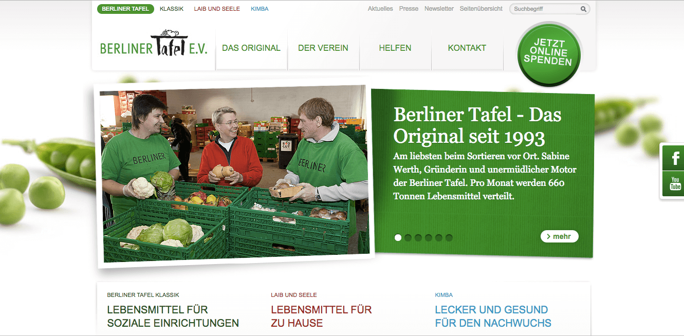 Screenshot of the Berlin Food Bank homepage. Source: berliner-tafel.de