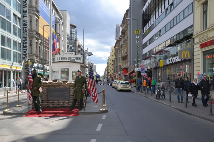 Checkpoint Charlie, one of the most visited spots in Berlin. Source.