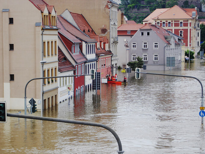 Climate change: Flooding in the German city of Meissen.