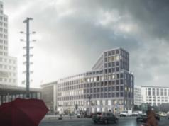 Die F100 Investment A.G. darf am Leipziger Platz 18-19 ein neungeschossiges Haus ohne die im Berliner Bebauungsplan vorgeschriebenen 20 Prozent Wohnungen bauen. Dank einer Ausnahmegenehmigung von Bausenator Andreas Geisel, SPD (Simulation: Gewinnerentwurf des Architektenwettbewerbs von leonwohlhae, Berlin)