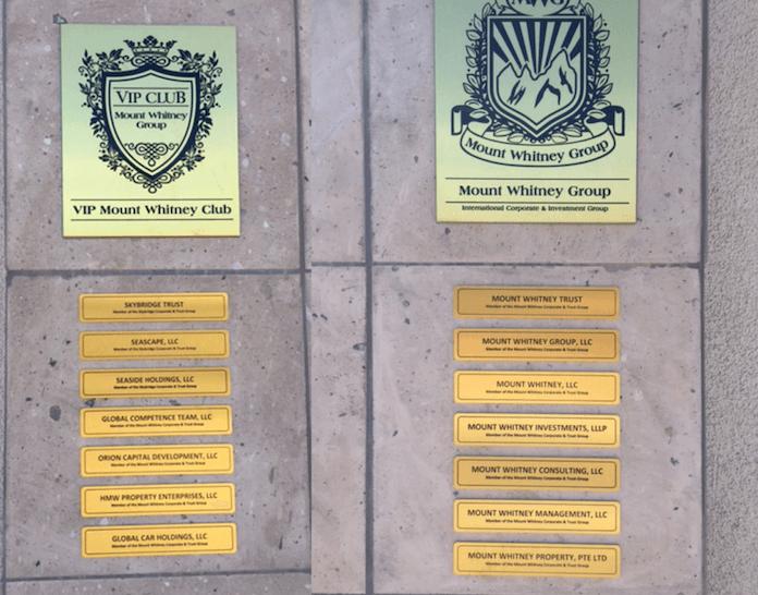 14 Firmenschilder wie etwa von Seascape LLC (2. von oben links) sollen in Las Vegas im US-Bundesstaat Nevada ein Imperium vorgeben, das aber bei Nachprüfungen keinerlei Geschäftsbeziehungen zu irgendjemand hat - außer zu inzwischen geschädigten deutschen Anlegern (Foto: Geschädigtengemeinschaft Tulpe 263, Berlin)