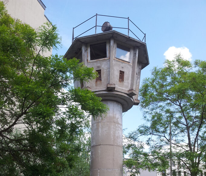 One of the few remaining watchtowers located near Potzdamer Platz. Source.
