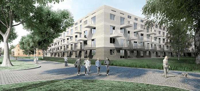 Auf dem Gelände des einstigen Kinderkrankenhauses in der Gotlindestraße in Lichtenberg baut die städtische Howoge 575 neue Mietswohnungen, ein Viertel davon zu 6,50 Euro pro Quadratmeter (Simualtion: Howoge/Max Dudler)
