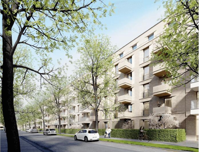 Die landeseigene Gesobau AG baut in der Mendelstraße 2 bis 22 bis Ende 2018 in Pankow 351 neue Mietwohnungen, 114 für 6,50 Euro Nettokaltmiete pro Quadratmeter (Visualisierung: BE Berlin GmbH/Gesobau AG)