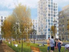 So soll der neue frei fianzierte Wohnpark des brandenburgischen Privatinvestors Belle Epoque mit 800 Volkswohnungen für 7 Euro Kaltmiete in der Rhinstraße in Lichtenberg aussehen (Simulation: K+K Architekten Berlin - Potsdam - Paris)