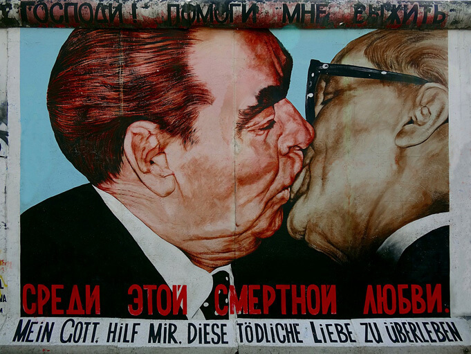 One of the most famous spots of the East Side Gallery, depicting Soviet leader Leonid Brezhnev and East German leader Erich Honecker sharing a kiss.
