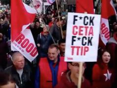 Die Wallonier bekamen am Samstag Zustimmung aus Amsterdam, wo Zehntausende Menschen auf die Strafße gingen und gegen CETA demonstrierten (Foto: Twitter/Robby Hiel)