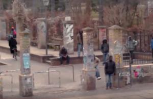 Tatort Görlitzer Park in Berlin-Kreuzberg: Hier trat Abdul A. (34) auch vor den Augen seiner drei kleinen Kinder seiner von ihm getrennt lebenden Frau (25) so stark mit dem Fuß ins Gesicht, dass sie schwer verletzt in eine Klinik eingeliefert werden musste (Foto: Youtube/Spiegel TV)
