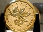 Auf der Rückseite der entwendeten Goldmünze ist das Maple Leaf, das kanadische Ahornblatt. (Screenshot: YouTube)