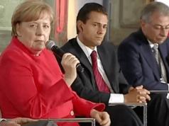 Angela Merkel berichtet dem mexikanischen Präsidenten aus der römischen Geschichte, wo der Limes die Migranten nicht habe aufhalten können. (Screenshot: YouTube)