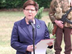Polens Ministerpräsidentin Beata Szydlo nimmt sich Auschwitz als Mahnung, für die Sicherheit der Bürger zu sorgen. (Screenshot: YouTube)