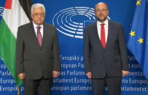 Martin Schulz kommt wegen seines Lobs für die palästinensische Führung nicht gut weg. (Screenshot: YouTube)