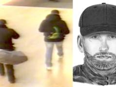 Ein Überwachungsbild aus den Spandau Arcaden und ein Phantombild von Räuber 1 (Quelle: Polizei Berlin)
