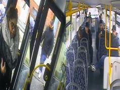 Aus dieser Gruppe von drei Männern und einer Frau heraus wurde die Busfahrerin beleidigt und zu Boden geschlagen. (Fotos: Polizei Berlin)