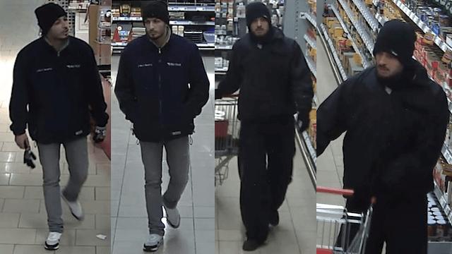 Diese zwei Räuber mit Pistole überfielen einen Supermarkt im Wildhüterweg. (Bilder: Polizei Berlin)