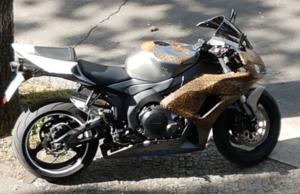 Das Einbrecher-Motorrad, das in der Halmstraße in Westend eingsetzt worden sein soll. (Foto: Polizei Berlin)