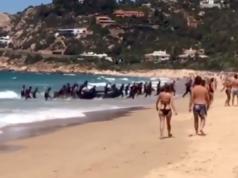 Illegale Migranten stürmen einen Badestrand in Südspanien. (Screenshot: YouTube)