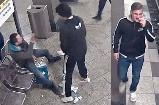 Jugendliche haben einem Obdachlosem im U-Bahnhof Mehringdamm die Faust ins Gesicht geschlagen. (Fotos: Polizei Berlin)
