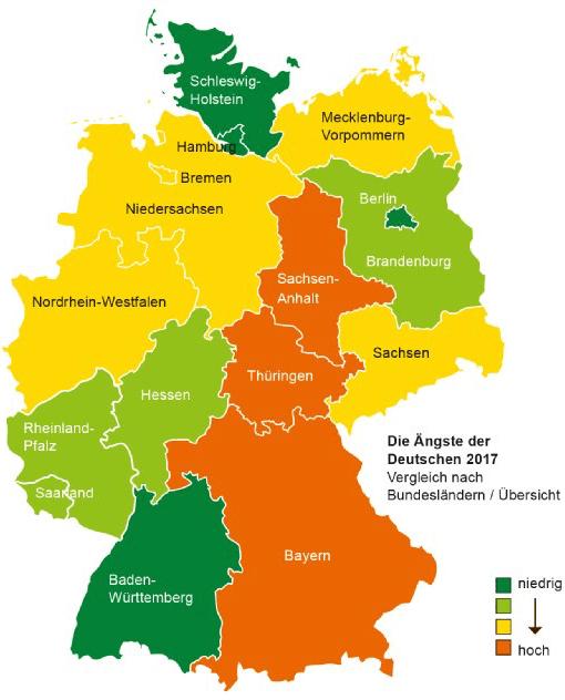 Die größten Ängste der Deutschen 2017 nach Bundesland