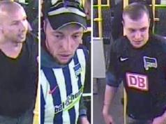 Die Polizei Berlin sucht diese drei Hertha-Fans, die vier unbekannte Fremde mit Flaschen beworfen haben sollen. (Fotos: Polizei Berlin)