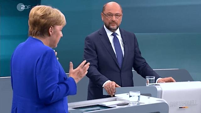 Nach dem TV-Duell zwischen Merkel und Schulz, droht der SPD eine historische Schlappe bei der Bundestagswahl. (Screenshot: ZDF)