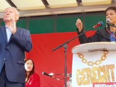 Sahra Wagenknecht und Oskar Lafontaine (hier während des letzten Bundestagswahlkampfs) sind gegen offene Grenzen für alle. (Screenshot: YouTube)